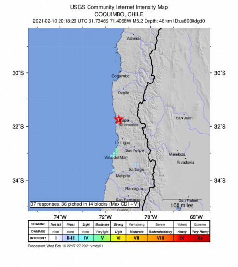 GEO Community Internet Intensity Map for the Illapel, Chile 5.2m Earthquake, Wednesday Feb. 10 2021, 5:18:29 PM