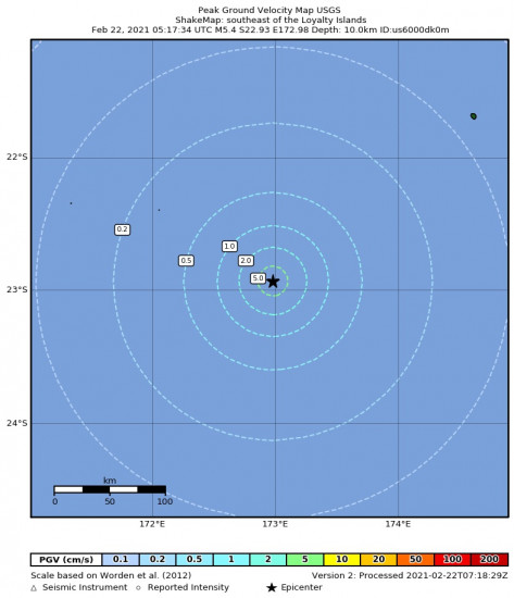 Peak Ground Velocity Map for the The Loyalty Islands 5.4m Earthquake, Monday Feb. 22 2021, 4:17:34 PM