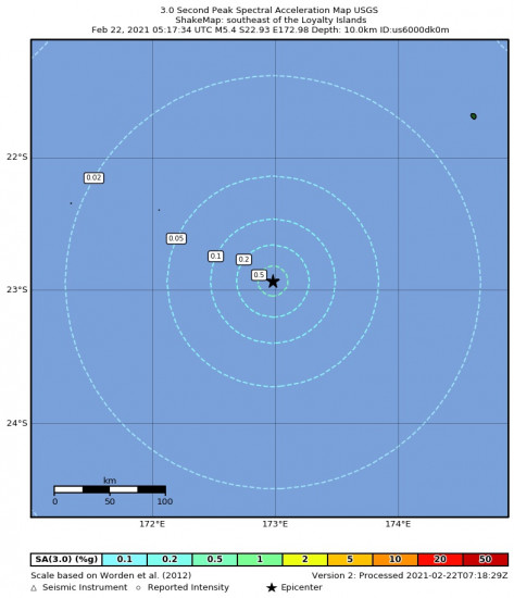 3 Second Peak Spectral Acceleration Map for the The Loyalty Islands 5.4m Earthquake, Monday Feb. 22 2021, 4:17:34 PM