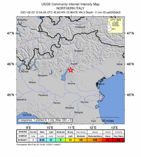 Community Internet Intensity Map for the Brentonico, Italy 4.3m Earthquake, Monday Feb. 22 2021, 1:04:06 PM