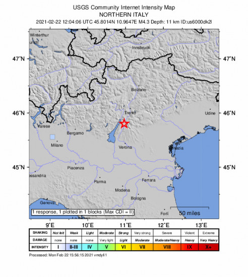 GEO Community Internet Intensity Map for the Brentonico, Italy 4.3m Earthquake, Monday Feb. 22 2021, 1:04:06 PM