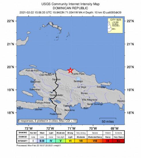 Community Internet Intensity Map for the Villa Isabela, Dominican Republic 4.4m Earthquake, Monday Feb. 22 2021, 11:06:35 AM