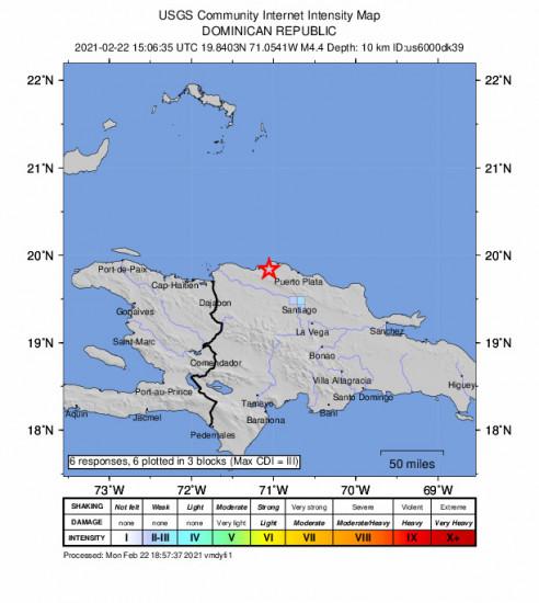 GEO Community Internet Intensity Map for the Villa Isabela, Dominican Republic 4.4m Earthquake, Monday Feb. 22 2021, 11:06:35 AM