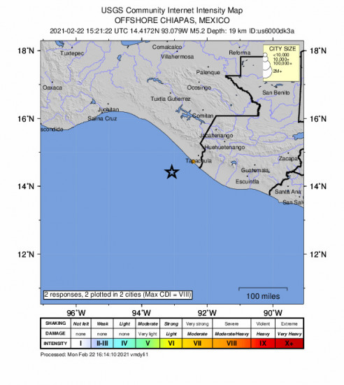 Community Internet Intensity Map for the Puerto Madero, Mexico 5.2m Earthquake, Monday Feb. 22 2021, 9:21:22 AM