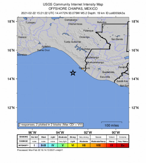 GEO Community Internet Intensity Map for the Puerto Madero, Mexico 5.2m Earthquake, Monday Feb. 22 2021, 9:21:22 AM
