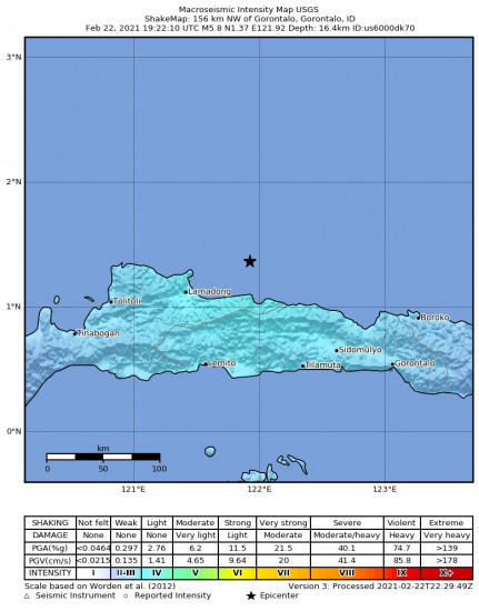 Macroseismic Intensity Map for the Gorontalo, Indonesia 5.8m Earthquake, Tuesday Feb. 23 2021, 3:22:10 AM