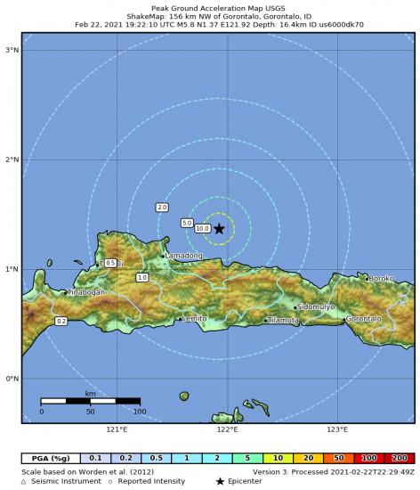 Peak Ground Acceleration Map for the Gorontalo, Indonesia 5.8m Earthquake, Tuesday Feb. 23 2021, 3:22:10 AM
