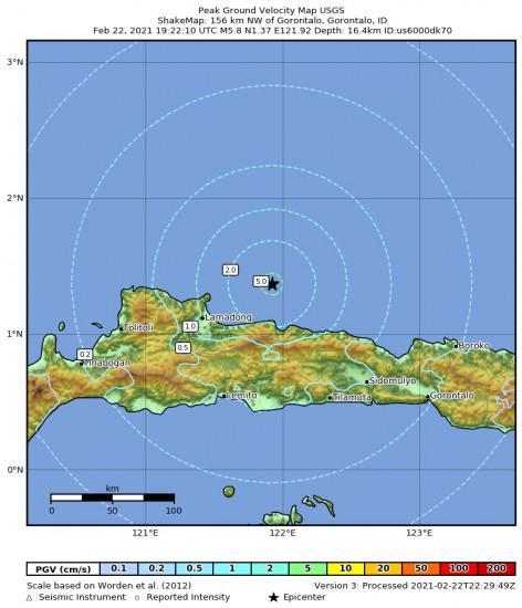 Peak Ground Velocity Map for the Gorontalo, Indonesia 5.8m Earthquake, Tuesday Feb. 23 2021, 3:22:10 AM