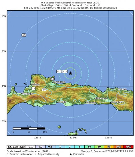 0.3 Second Peak Spectral Acceleration Map for the Gorontalo, Indonesia 5.8m Earthquake, Tuesday Feb. 23 2021, 3:22:10 AM