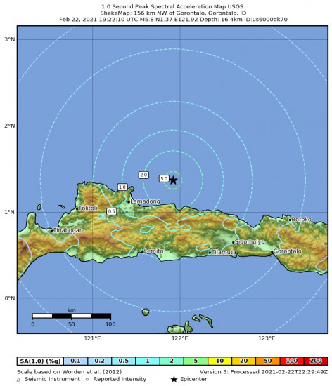 1 Second Peak Spectral Acceleration Map for the Gorontalo, Indonesia 5.8m Earthquake, Tuesday Feb. 23 2021, 3:22:10 AM