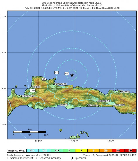 3 Second Peak Spectral Acceleration Map for the Gorontalo, Indonesia 5.8m Earthquake, Tuesday Feb. 23 2021, 3:22:10 AM