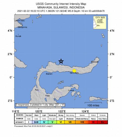 Community Internet Intensity Map for the Gorontalo, Indonesia 5.8m Earthquake, Tuesday Feb. 23 2021, 3:22:10 AM