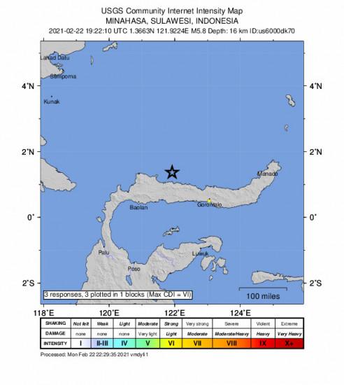 GEO Community Internet Intensity Map for the Gorontalo, Indonesia 5.8m Earthquake, Tuesday Feb. 23 2021, 3:22:10 AM