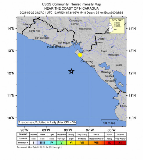 Community Internet Intensity Map for the Jiquilillo, Nicaragua 4.8m Earthquake, Monday Feb. 22 2021, 3:27:01 PM