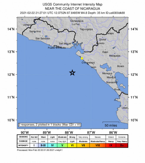 GEO Community Internet Intensity Map for the Jiquilillo, Nicaragua 4.8m Earthquake, Monday Feb. 22 2021, 3:27:01 PM