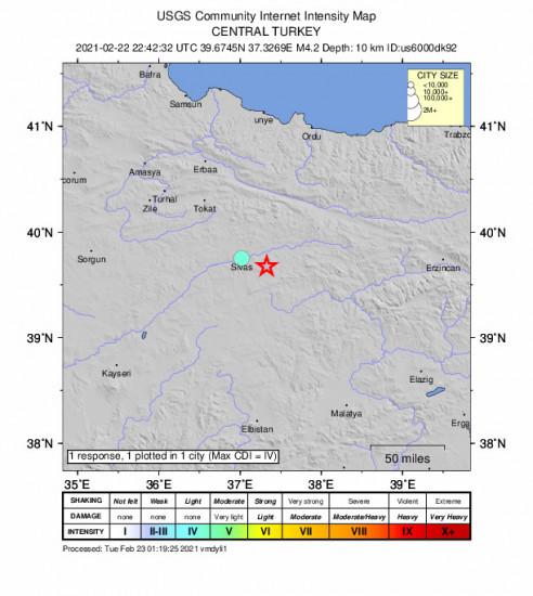 Community Internet Intensity Map for the Hafik, Turkey 4.2m Earthquake, Tuesday Feb. 23 2021, 1:42:32 AM