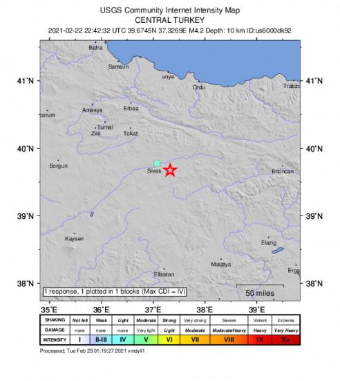 GEO Community Internet Intensity Map for the Hafik, Turkey 4.2m Earthquake, Tuesday Feb. 23 2021, 1:42:32 AM