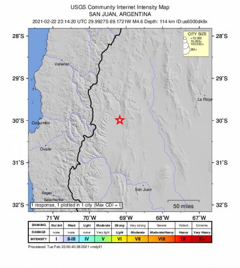 Community Internet Intensity Map for the San José De Jáchal, Argentina 4.6m Earthquake, Monday Feb. 22 2021, 8:14:20 PM