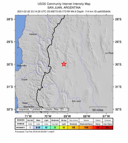 GEO Community Internet Intensity Map for the San José De Jáchal, Argentina 4.6m Earthquake, Monday Feb. 22 2021, 8:14:20 PM