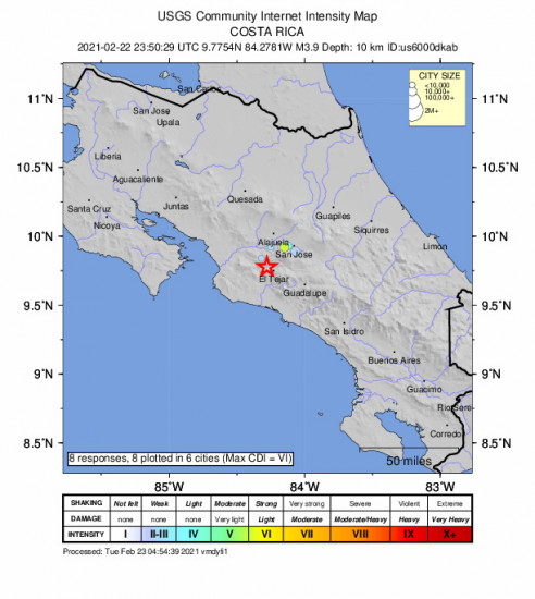 Community Internet Intensity Map for the Tejar, Costa Rica 3.9m Earthquake, Monday Feb. 22 2021, 5:50:29 PM