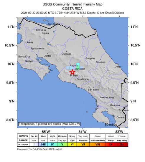 GEO Community Internet Intensity Map for the Tejar, Costa Rica 3.9m Earthquake, Monday Feb. 22 2021, 5:50:29 PM