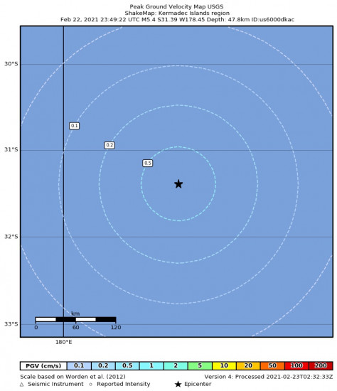 Peak Ground Velocity Map for the Kermadec Islands Region 5.4m Earthquake, Tuesday Feb. 23 2021, 12:49:22 PM