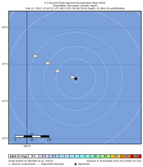 0.3 Second Peak Spectral Acceleration Map for the Kermadec Islands Region 5.4m Earthquake, Tuesday Feb. 23 2021, 12:49:22 PM
