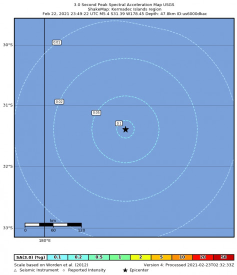 3 Second Peak Spectral Acceleration Map for the Kermadec Islands Region 5.4m Earthquake, Tuesday Feb. 23 2021, 12:49:22 PM