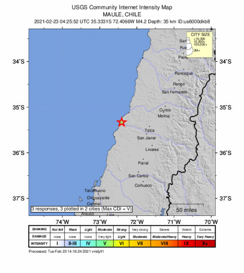 Community Internet Intensity Map for the Constitución, Chile 4.2m Earthquake, Tuesday Feb. 23 2021, 1:25:52 AM