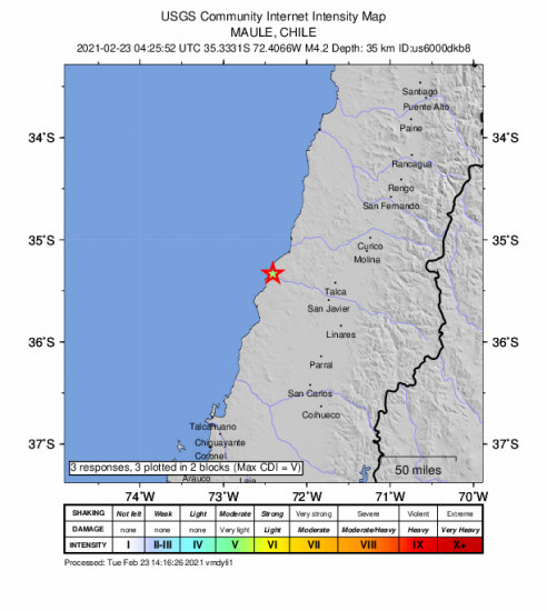 GEO Community Internet Intensity Map for the Constitución, Chile 4.2m Earthquake, Tuesday Feb. 23 2021, 1:25:52 AM