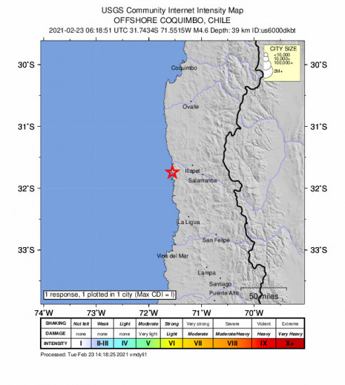 Community Internet Intensity Map for the Illapel, Chile 4.6m Earthquake, Tuesday Feb. 23 2021, 3:18:51 AM