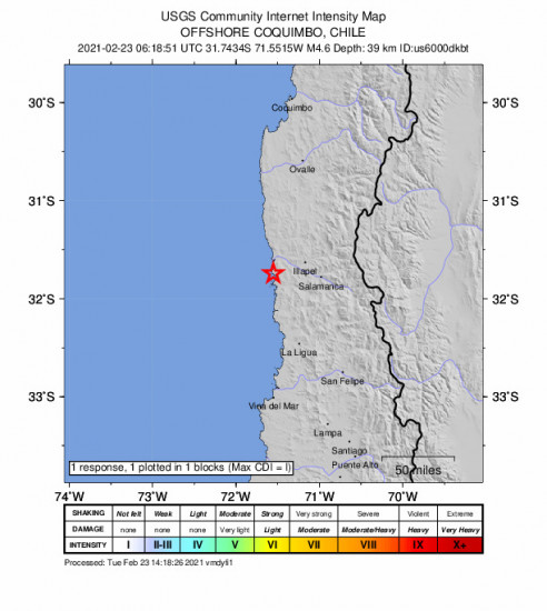 GEO Community Internet Intensity Map for the Illapel, Chile 4.6m Earthquake, Tuesday Feb. 23 2021, 3:18:51 AM