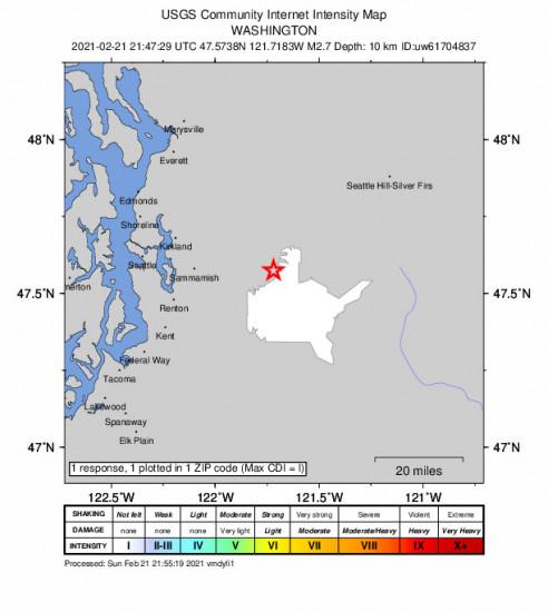 Community Internet Intensity Map for the Snoqualmie, Washington 2.74000001m Earthquake, Sunday Feb. 21 2021, 1:47:29 PM