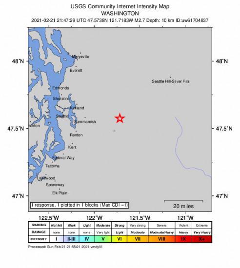 GEO Community Internet Intensity Map for the Snoqualmie, Washington 2.74000001m Earthquake, Sunday Feb. 21 2021, 1:47:29 PM