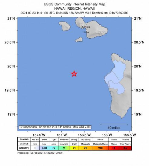 Community Internet Intensity Map for the Kalaoa, Hawaii 3.8m Earthquake, Tuesday Feb. 23 2021, 4:41:20 AM