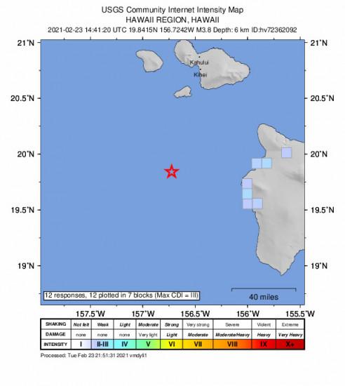GEO Community Internet Intensity Map for the Kalaoa, Hawaii 3.8m Earthquake, Tuesday Feb. 23 2021, 4:41:20 AM