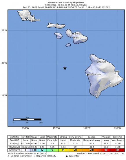Macroseismic Intensity Map for the Kalaoa, Hawaii 3.8m Earthquake, Tuesday Feb. 23 2021, 4:41:20 AM