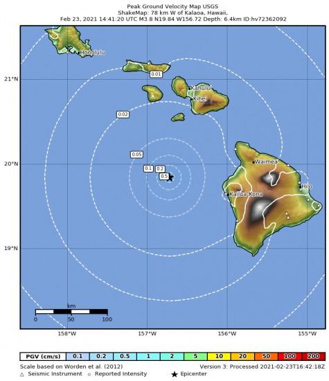 Peak Ground Velocity Map for the Kalaoa, Hawaii 3.8m Earthquake, Tuesday Feb. 23 2021, 4:41:20 AM