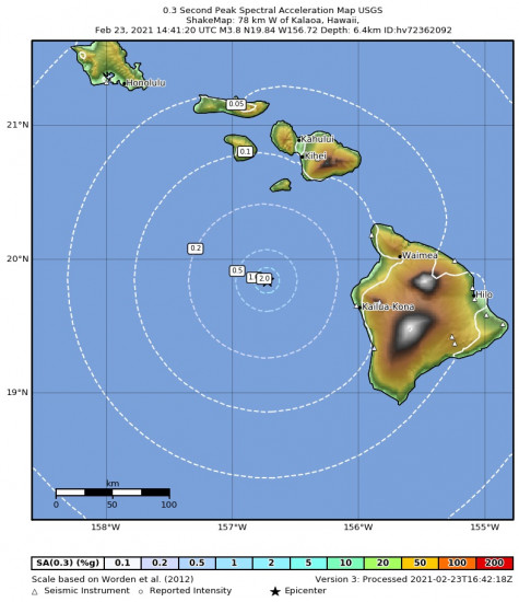 0.3 Second Peak Spectral Acceleration Map for the Kalaoa, Hawaii 3.8m Earthquake, Tuesday Feb. 23 2021, 4:41:20 AM