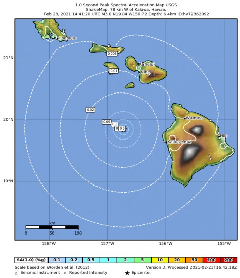 1 Second Peak Spectral Acceleration Map for the Kalaoa, Hawaii 3.8m Earthquake, Tuesday Feb. 23 2021, 4:41:20 AM