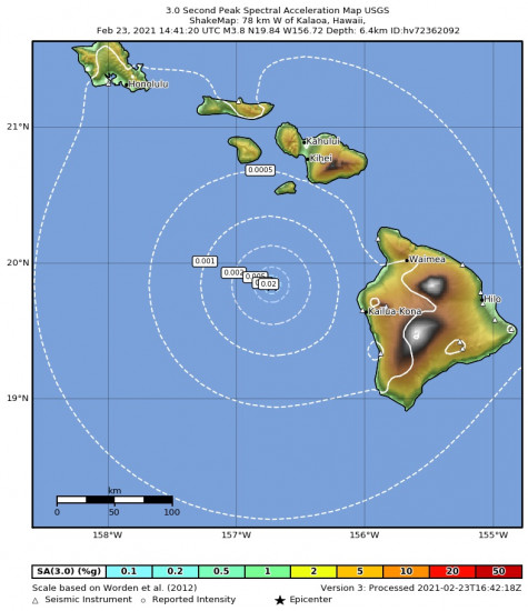 3 Second Peak Spectral Acceleration Map for the Kalaoa, Hawaii 3.8m Earthquake, Tuesday Feb. 23 2021, 4:41:20 AM