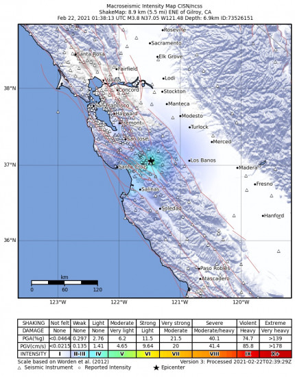 Macroseismic Intensity Map for the Gilroy, Ca 3.76m Earthquake, Sunday Feb. 21 2021, 5:38:13 PM