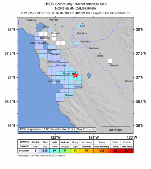 GEO Community Internet Intensity Map for the Gilroy, Ca 3.76m Earthquake, Sunday Feb. 21 2021, 5:38:13 PM