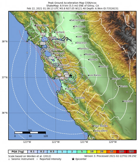 Peak Ground Acceleration Map for the Gilroy, Ca 3.76m Earthquake, Sunday Feb. 21 2021, 5:38:13 PM