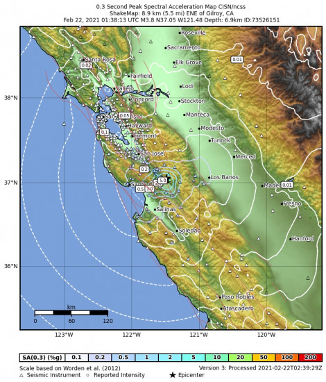 0.3 Second Peak Spectral Acceleration Map for the Gilroy, Ca 3.76m Earthquake, Sunday Feb. 21 2021, 5:38:13 PM