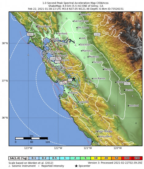1 Second Peak Spectral Acceleration Map for the Gilroy, Ca 3.76m Earthquake, Sunday Feb. 21 2021, 5:38:13 PM