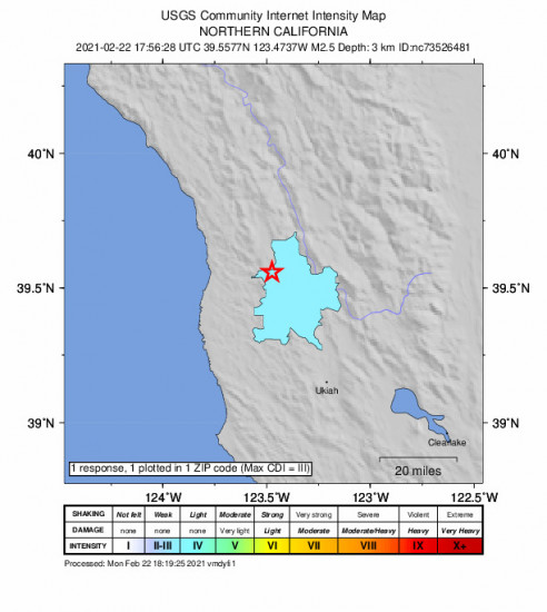 Community Internet Intensity Map for the Laytonville, Ca 2.55m Earthquake, Monday Feb. 22 2021, 9:56:28 AM
