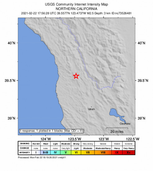 GEO Community Internet Intensity Map for the Laytonville, Ca 2.55m Earthquake, Monday Feb. 22 2021, 9:56:28 AM