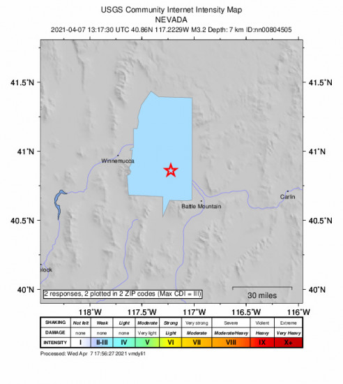 Community Internet Intensity Map for the Valmy, Nevada 3.2m Earthquake, Wednesday Apr. 07 2021, 6:17:30 AM