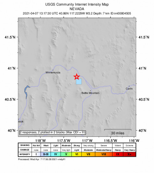 GEO Community Internet Intensity Map for the Valmy, Nevada 3.2m Earthquake, Wednesday Apr. 07 2021, 6:17:30 AM